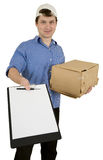 Man hold cardboard box Royalty Free Stock Images
