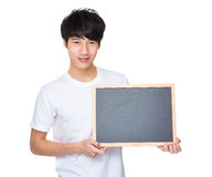 Man hold with chalkboard Royalty Free Stock Photo