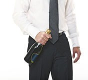Man hold champagne bottle Royalty Free Stock Image