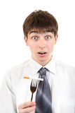 Man hold Cigarette on the Fork Stock Photo