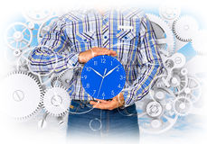 Man hold clock Royalty Free Stock Images