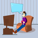 Man Hold Console Remote Control Wear Headphones Play Computer Video Game Tv Sit In Armchair Stock Image