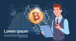 Man Hold Digital Tablet Golden Bitcoin Modern Currency Crypto Web Charts And Graphs Background. Vector Illustration Royalty Free Stock Photos