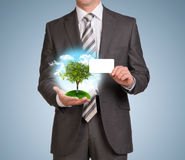 Man hold empty card and nature landscape with tree Royalty Free Stock Images