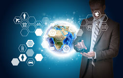 Man hold empty copy space. Earth and hexagons with Royalty Free Stock Photography