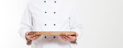 Man hold empty dish isolated on white background,blank stock photo
