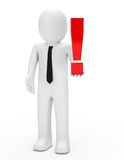 Man hold exclamation mark Royalty Free Stock Photo