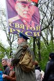 Man hold flag with portrait of Joseph Stalin, Soviet Union leader, at Victory Day parade  in Odessa,Ukraine Stock Photo