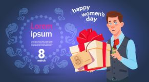 Man Hold Gift Box For 8 March Holiday Happy International Women Day Greeting Card Over Template Background. Flat Vector Illustration Royalty Free Stock Photography