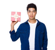 Man hold with giftbox Stock Image