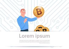 Man Hold Golden Bitcoin Modern Crypto Currency Web Money Concept Motherboard Circuit Background Royalty Free Stock Image