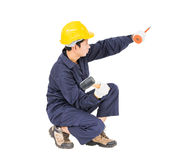Man hold hammer and cold chisel on white Stock Photography