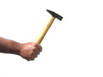 Man hold a hammer in his hand Royalty Free Stock Photos