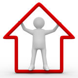 Man hold house in hands Royalty Free Stock Images