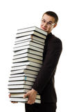 Man hold huge ammount of books expressing negativi Royalty Free Stock Photos