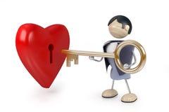 Man hold key to heart Stock Photo