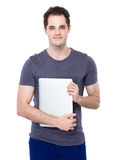 Man hold with laptop Stock Images
