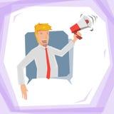 Man hold megaphone Stock Image