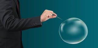 Man hold needle stab empty bubble Stock Image