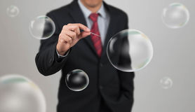Man hold needle stab empty bubble Stock Photography