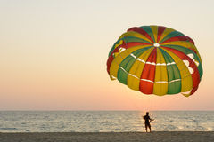 Man hold parachute for tourist on sand beach at sunset time Royalty Free Stock Image