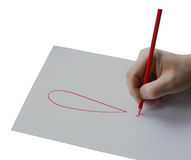 Man hold pencil on right hand, isolation Stock Photography
