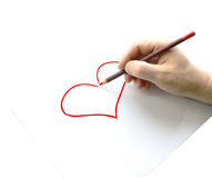 Man hold pencil on right hand, isolation on white background Stock Photo