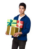 Man hold with present box Royalty Free Stock Photos