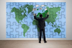 Man Hold Puzzle Of World Map Royalty Free Stock Photos