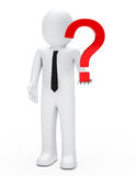 Man hold question mark Stock Photos