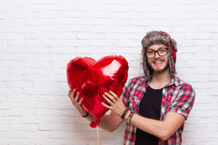 Man Hold Red Heart Shape Baloon Hipster Fashion Style Royalty Free Stock Images