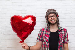 Man Hold Red Heart Shape Baloon Hipster Fashion Style Stock Photo