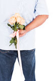 Man hold rose flower behind for surprise his wife Royalty Free Stock Photography