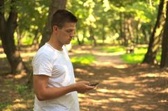 Man hold smartphone Royalty Free Stock Images