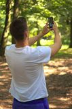 Man hold smartphone Royalty Free Stock Image