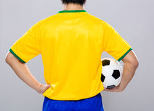 Man hold soccer ball Royalty Free Stock Photos