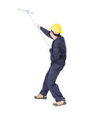 Man hold squeegee window cleaner isolated on white Royalty Free Stock Image