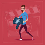 Man Hold Thumb Down Modern Video Blogger Vlog Creator Channel Dislike. Flat Vector Illustration stock illustration