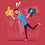 Man Hold Thumb Up And Down Modern Video Blogger Vlog Creator Channel. Flat Vector Illustration royalty free illustration