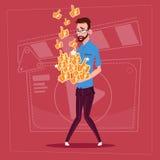 Man Hold Thumb Up Modern Video Blogger Vlog Creator Channel Like. Flat Vector Illustration Royalty Free Stock Photo
