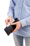 Man hold wallet with money and card isolated Stock Image