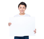 Man hold with white board. Isolated on white background Stock Photos