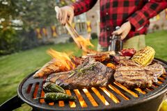 Free Man Holding A Beer Grilling Meat On A BBQ Stock Image - 178403871
