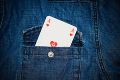 Man holding an ace in sleeve. Man holding an ace card in sleeve Stock Images