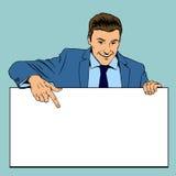 Man holding advertising empty banner. Vector. Man holding advertising empty banner. Business blank, empty billboard, poster advertisement. Retro pop-art style vector illustration