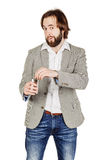 Man holding alcohol flask Royalty Free Stock Photography