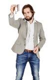Man holding alcohol flask Stock Photo