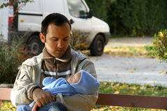 Father with his little baby boy in his arms Royalty Free Stock Photo