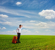 Man holding bag and looking forward Royalty Free Stock Image