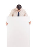 Man holding banner. Isolated over white background Stock Photo